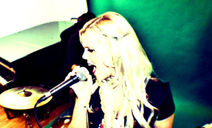 Laura-Jayne singing in the studio